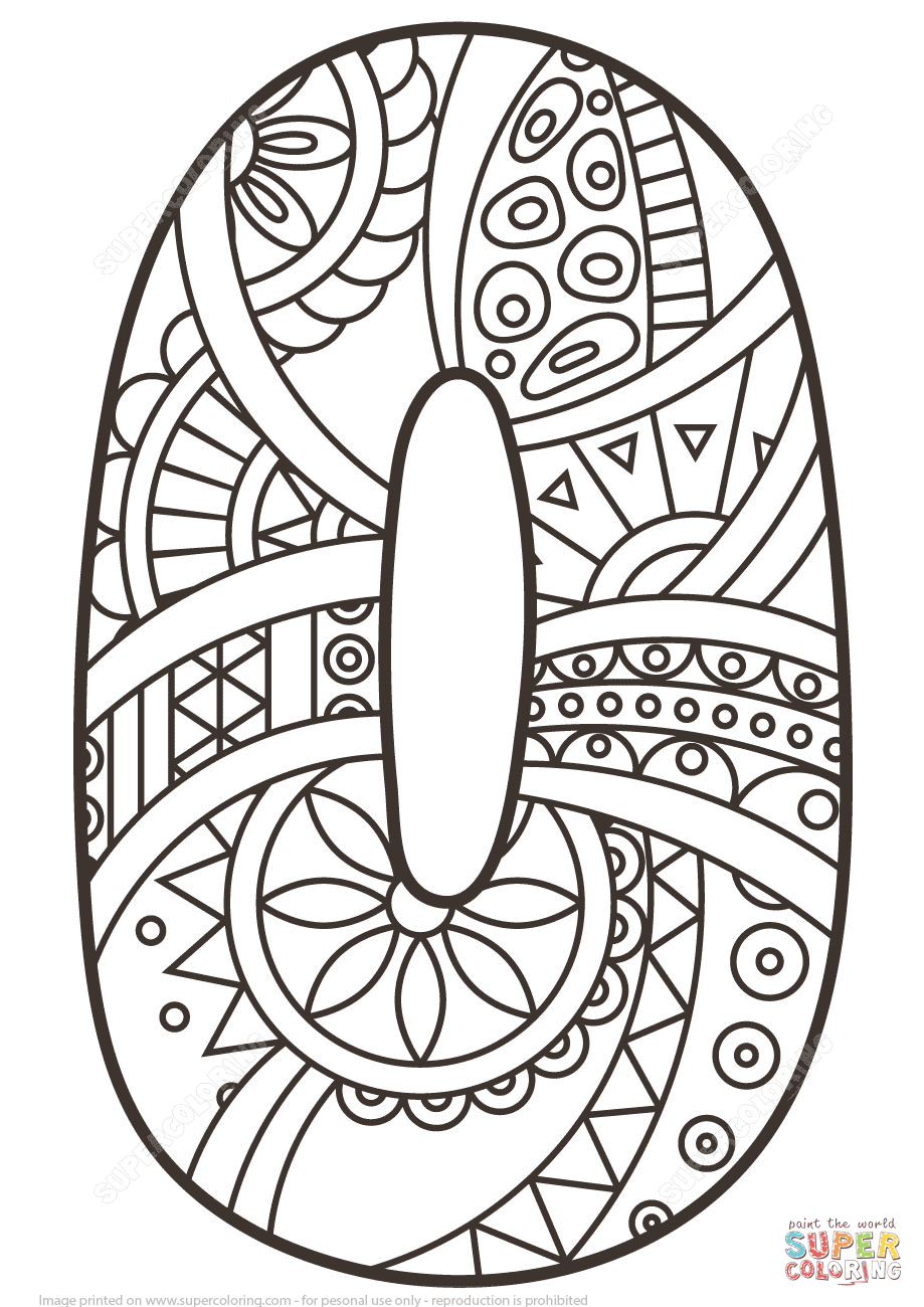 Number 0 Zentangle coloring page from Zentangle Numbers