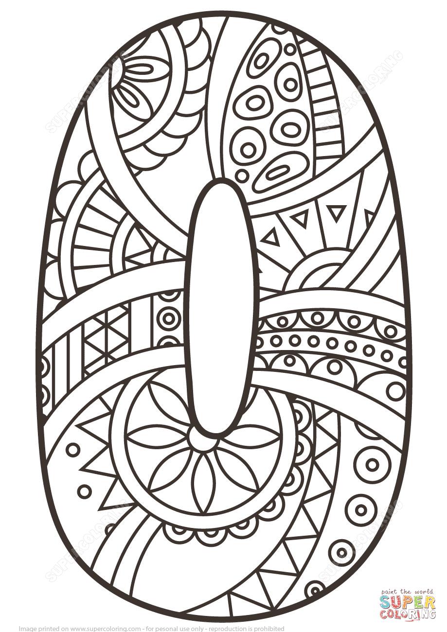 Number 0 Zentangle Super Coloring