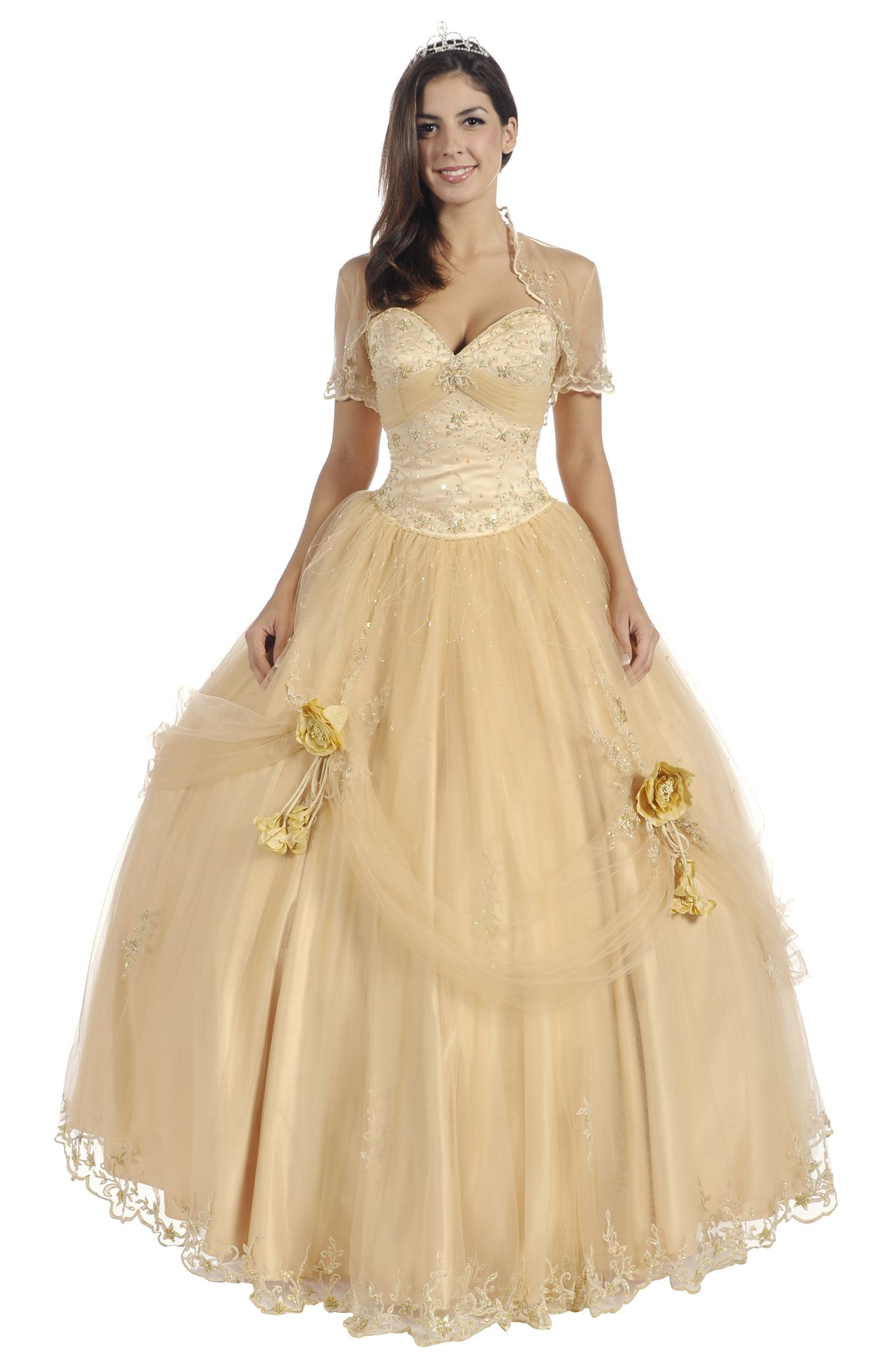 gold dresses gold quinceanera dress bolero strapless poofy princess gown satin 4 - Gold Color Dress