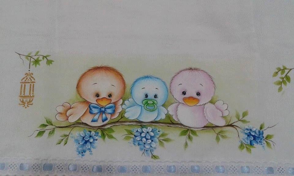 Passarinhos bebes riscos infantis pintura em tecido - Dibujos para pintar en tela infantiles ...