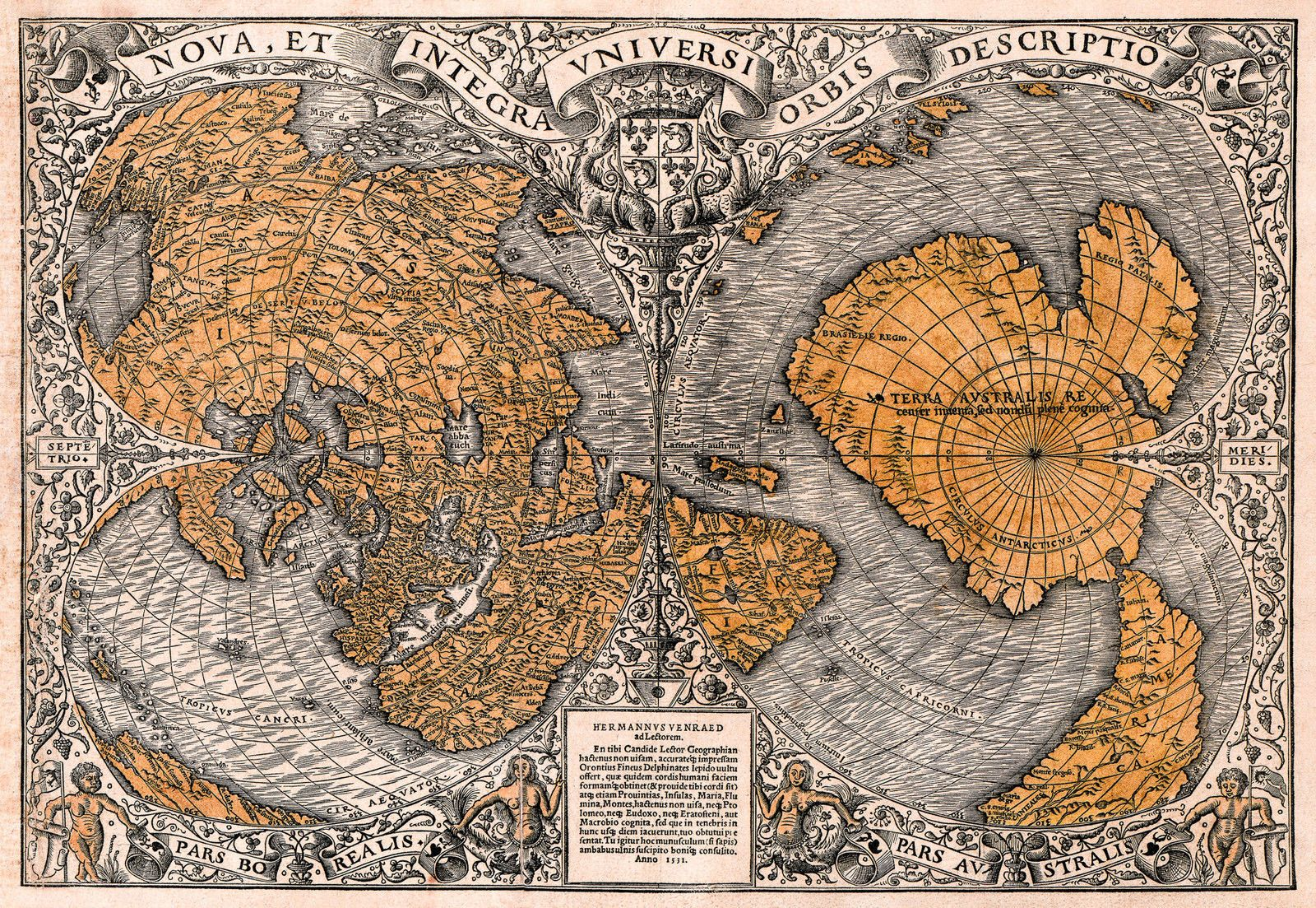 Antique world map old vintage map 1531 fade resistant hd art antique world map old vintage map 1531 fade resistant hd art print or gumiabroncs Choice Image