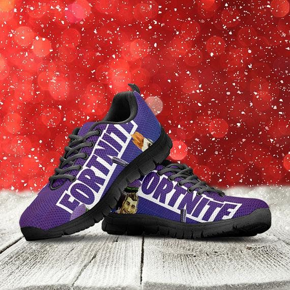 0de8d58d95ea Fortnite Battle Royale Custom Black Shoes Sneakers Trainers - Ladies Mens  Kids Sizes
