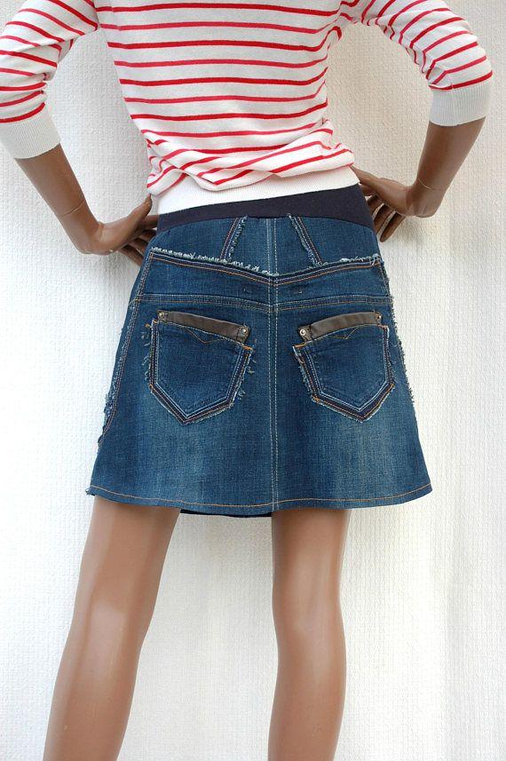 Dark Blue Denim Girl Jupe Courte En Patchwork De Jeans Bleu Habillement Homme Jupe Courte Jupe En Jean