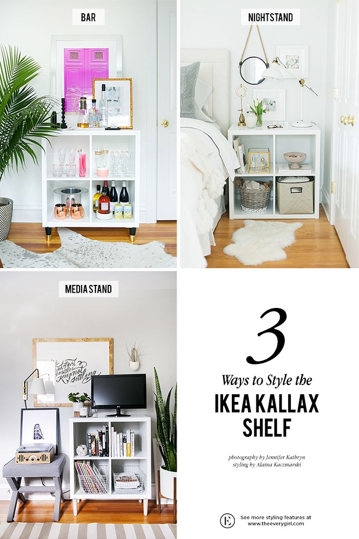 3 ways to style and use ikea 39 s kallax expedit shelf storage on s 39 organise pinterest. Black Bedroom Furniture Sets. Home Design Ideas