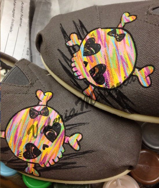 Bright cute skull TOMS shoes by ValeriaMalariaArt on Etsy. , via Etsy.