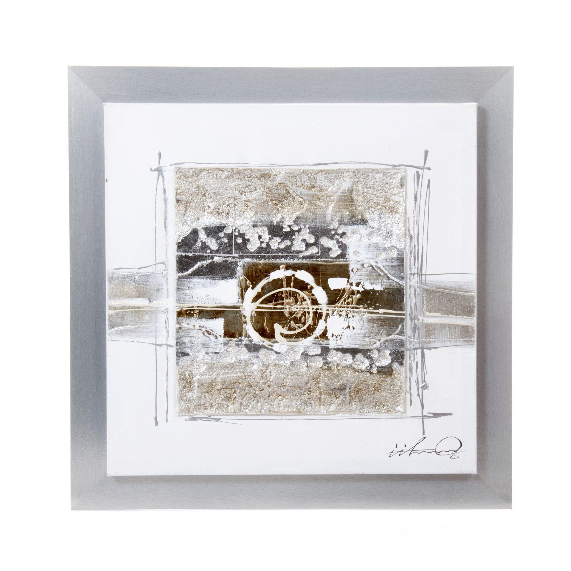 Peinture sur toile avec son cadre argent crumble for Toile decoration murale quebec