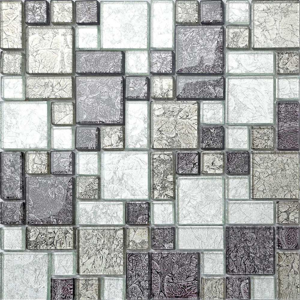 Mosaic Tiles Material: Glass Colours: Silver and black mix Finish ...
