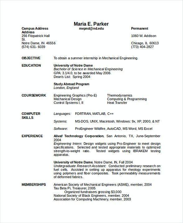 Mechanical Engineering Resume , Software Engineering Manager Resume