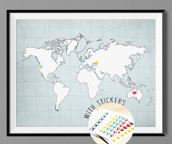 World map poster print with pins sticker set wall by macanaz for world map poster print with pins sticker set wall by macanaz gumiabroncs Gallery