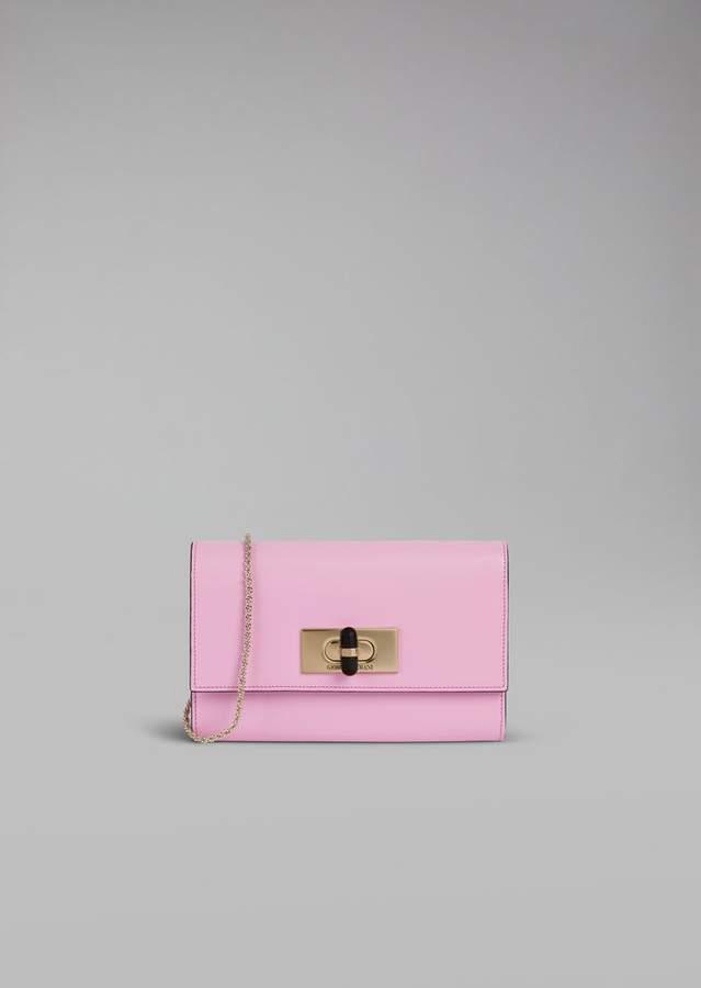 401f8c7ec9 Borgonuovo 11 wallet mini bag in leather with chain and plexiglas ...