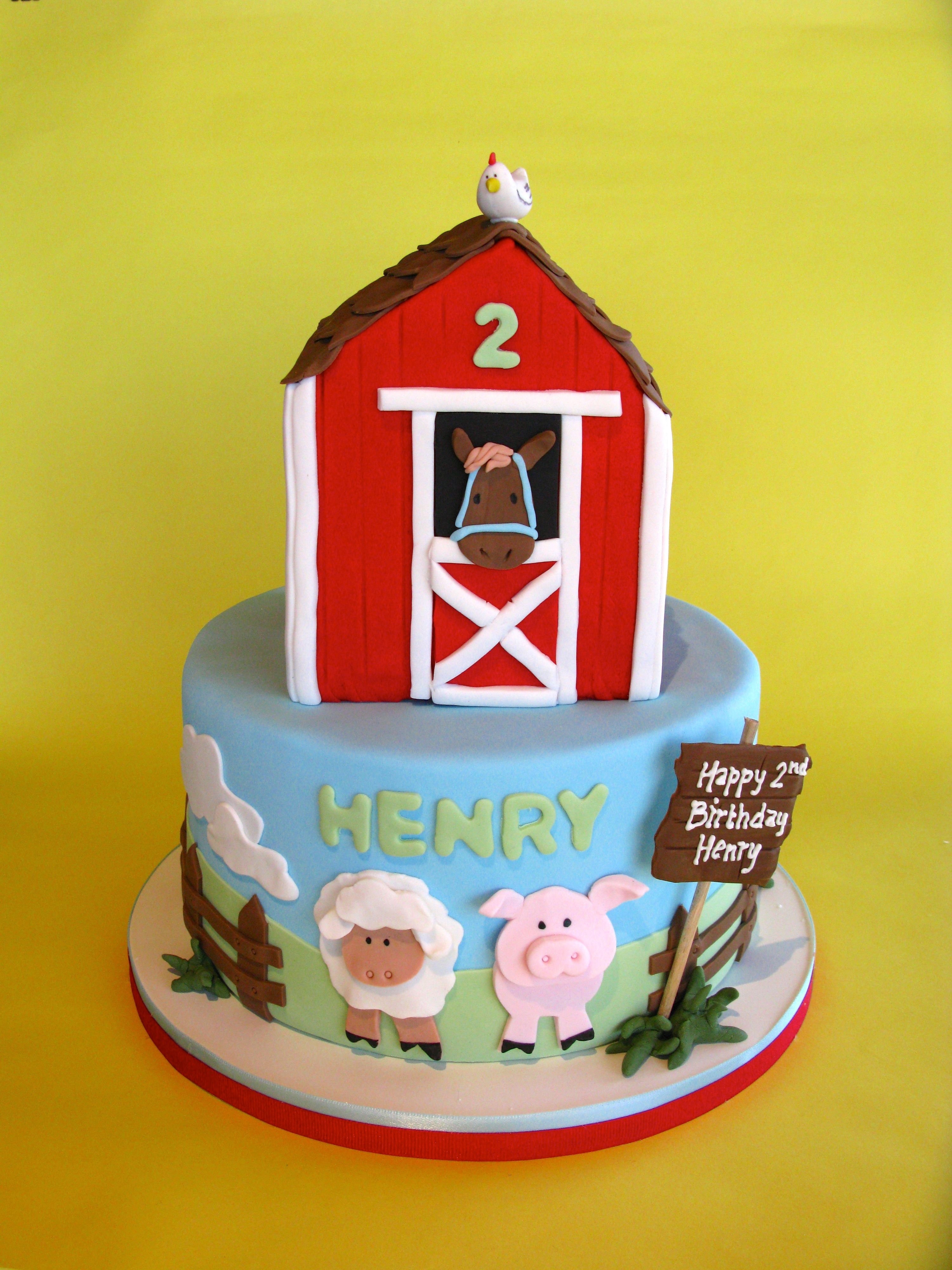 Barn animal birthday cake kids birthday barn theme farm theme