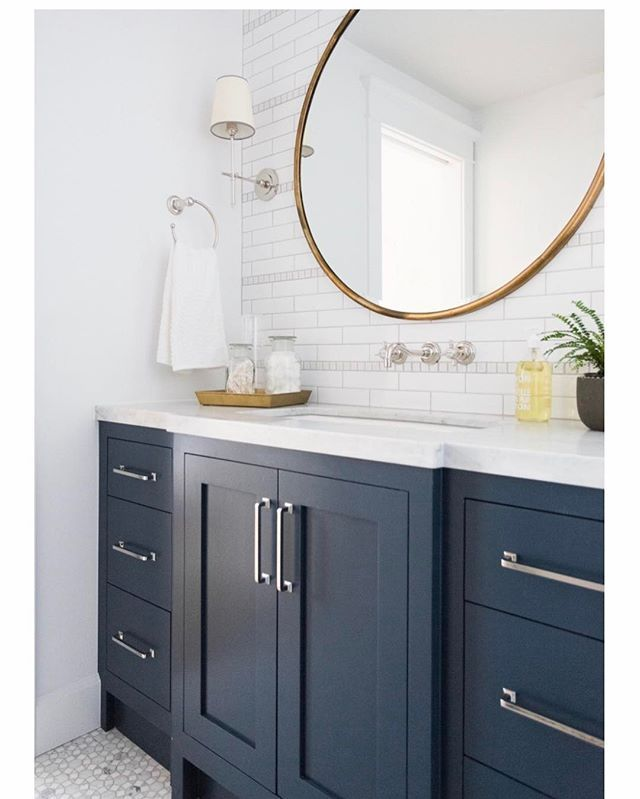 Vanity Paint Color Gentleman S Gray By Benjamin Moore Vanity Style Mirror White Counter Smallbathro Blue Bathroom Vanity Trendy Bathroom Bathrooms Remodel