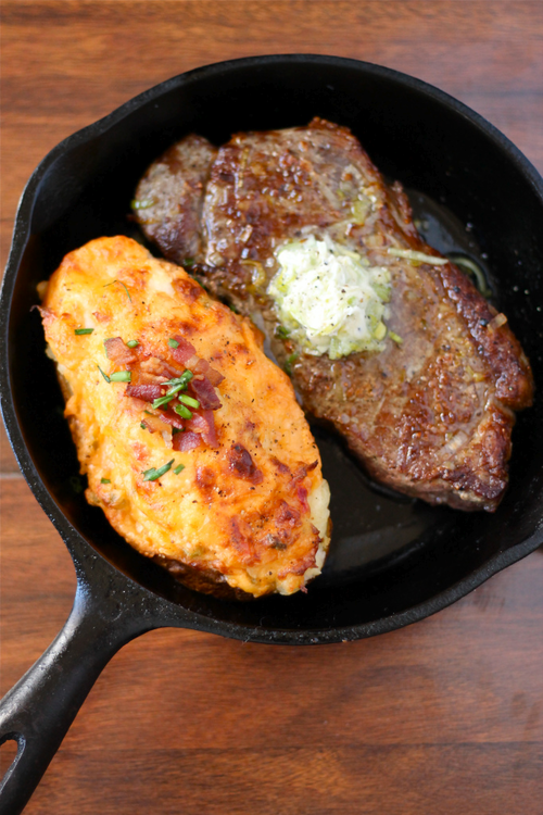 Steaks with Leek Compound Butter and Twice Baked... - | via Tumblr