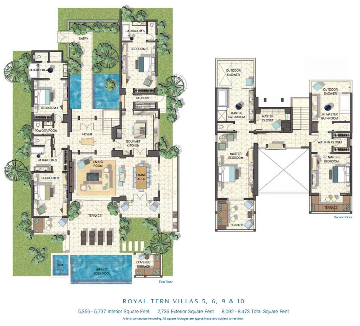 Villa Site Plan Design: Floor Plan: Royal Tern Villas 5, 6, 9 & 10 In 2019