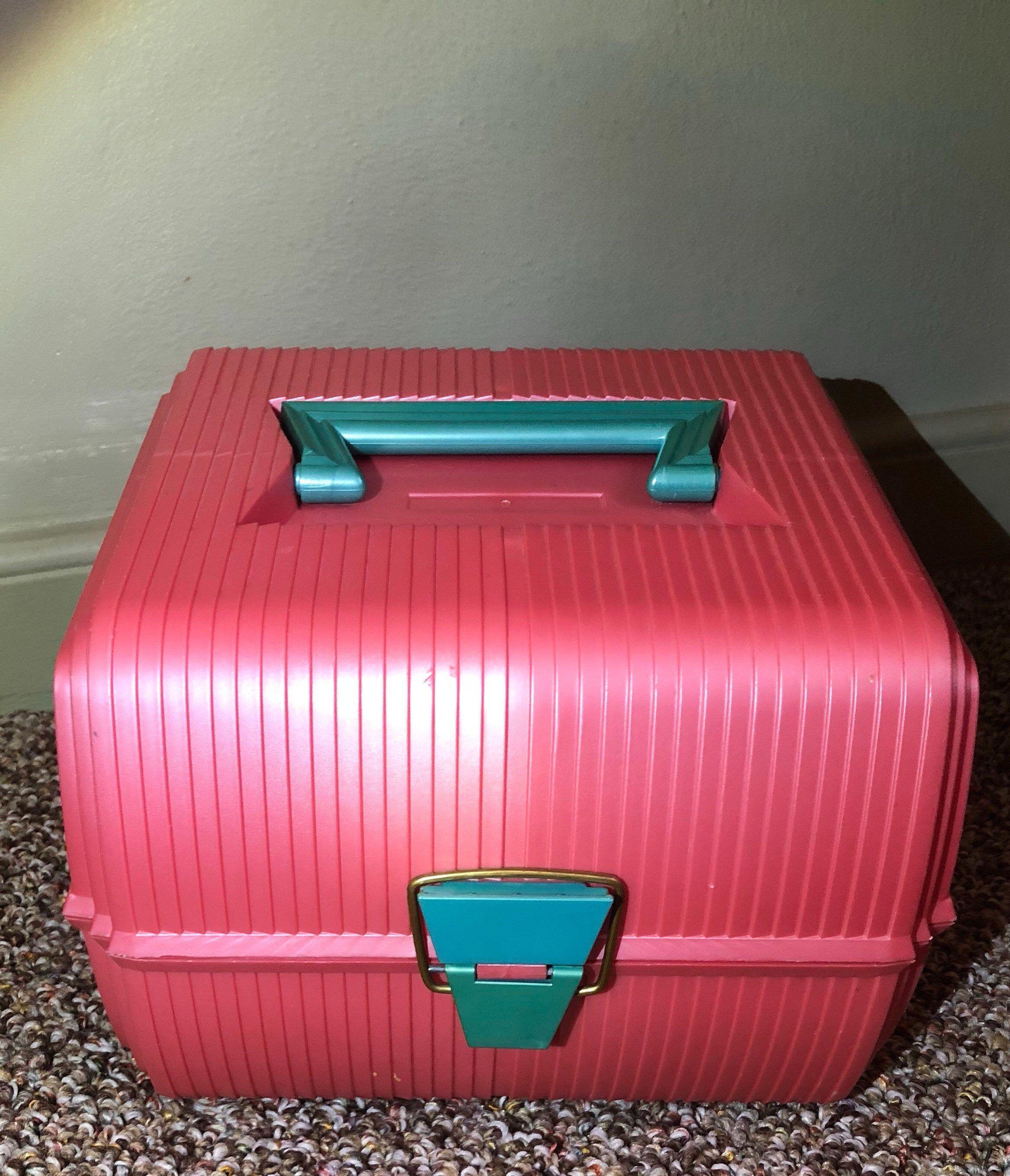 Vintage Peachy Pink Teal Sassaby 102 Makeup Jewelry Storage