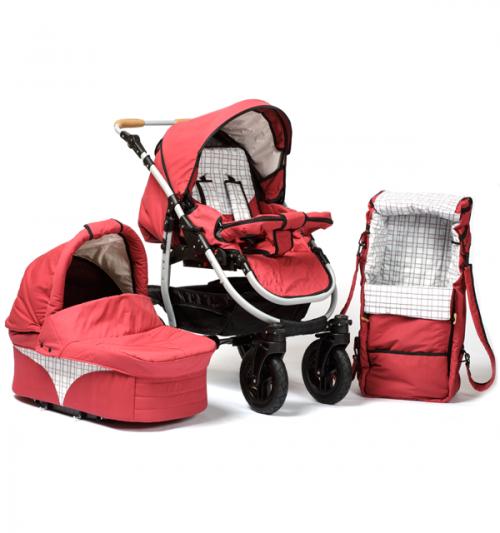 Barnvagn Varius - röd   rutig