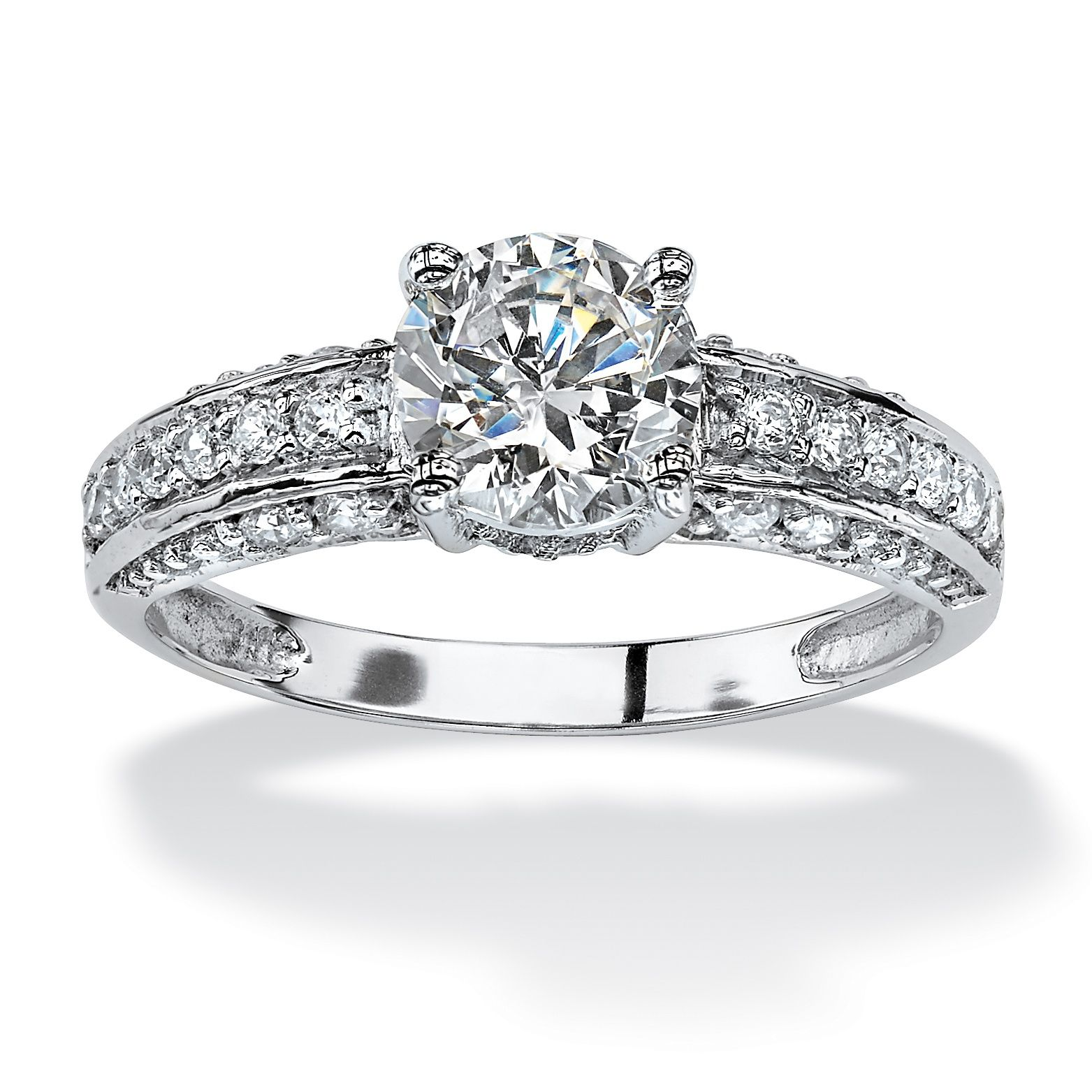 1.80 TCW Round Cubic Zirconia Ring in 10k White Gold on