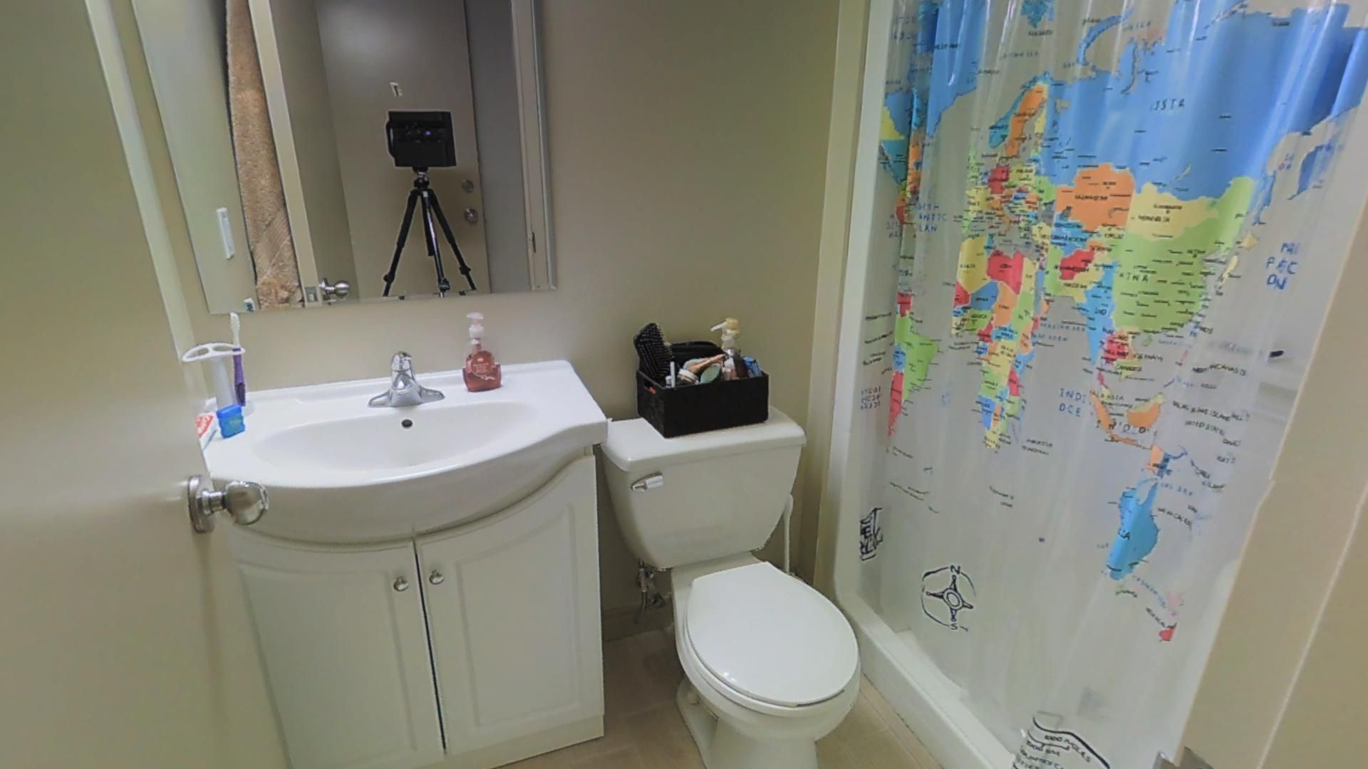 The shower curtain makes the bathroom, ensuite options available ...