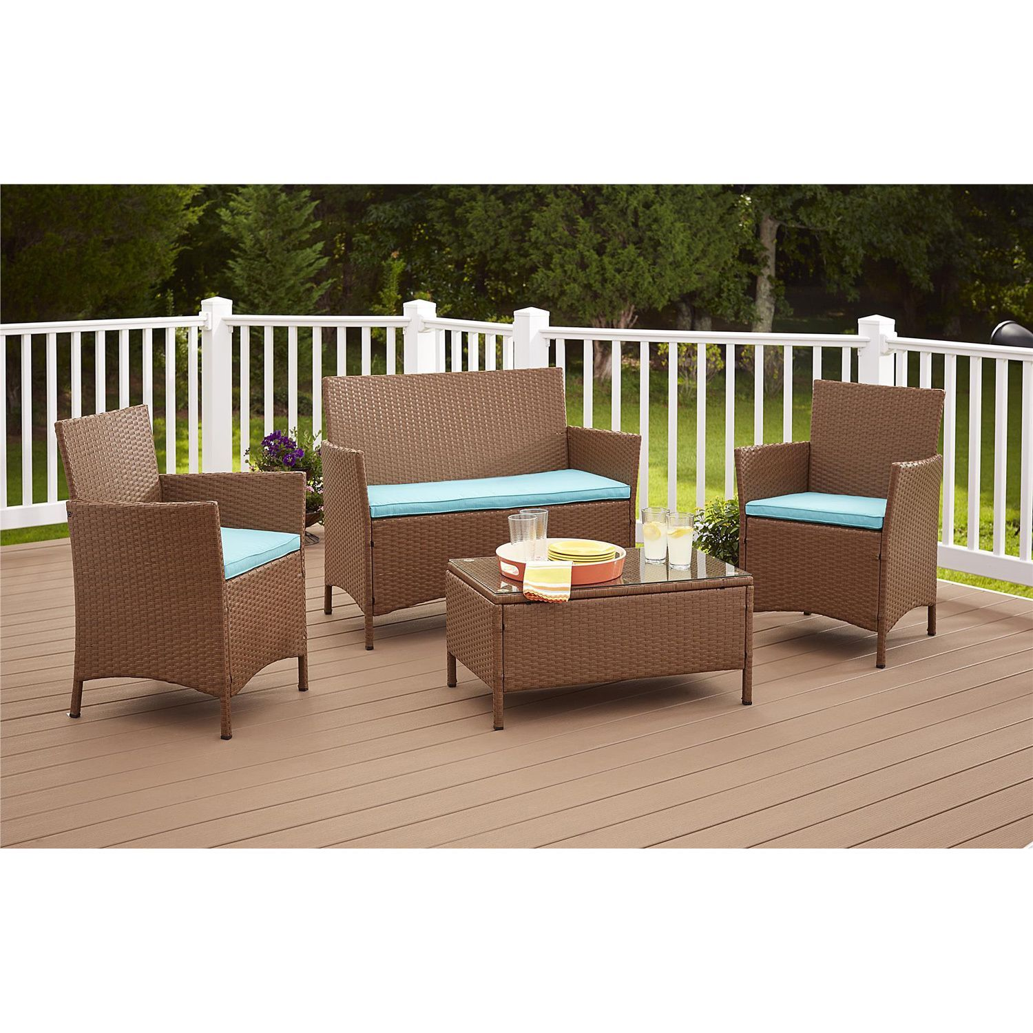facf8756e86 Cosco Outdoor Jamaica 4-piece Resin Wicker Conversation Set ...