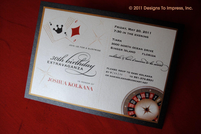 VEGAS themed BIRTHDAY INVITATION casino night by designstoimpress ...