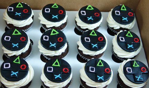 Playstation Cupcakes Birthday Cupcakes Boy Video Games Birthday