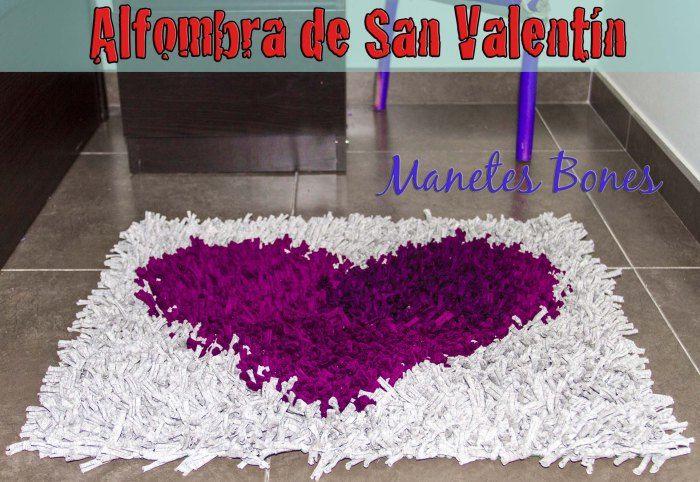 Alfombra corazón de San Valentín | Alfombra de trapo