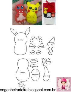 Molde Pokemon Pikachu | FIELTRO | Muñecos de fieltro