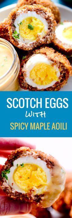 Scotch Eggs with Spicy Maple Aoili #scotcheggs Scotch Eggs with Spicy Maple Aoili - Recipe Diaries #eggs #scotcheggs