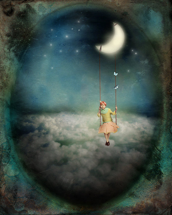 Fantasy Nursery Home decor Poster Cute Fairy Swing Moon Galaxy Wall Art Print