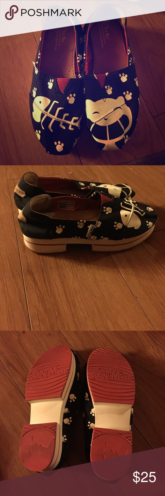 Cute cat print shoes In a good condition. Price firm. An inch and a half heel. Color is navy Shoes Flats & Loafers