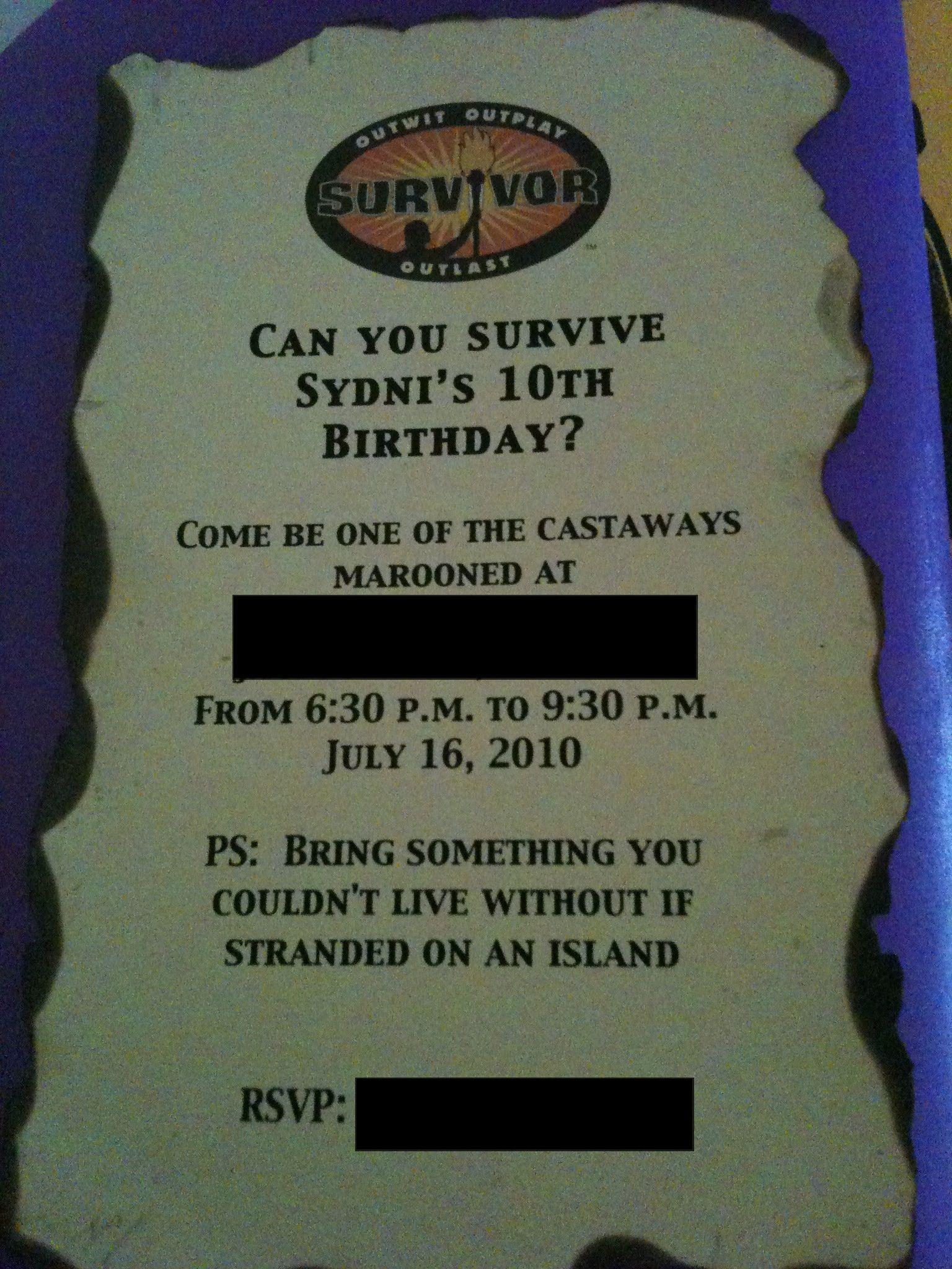 Survivor Themed Invite | Domestic Diva~My Creations | Pinterest ...