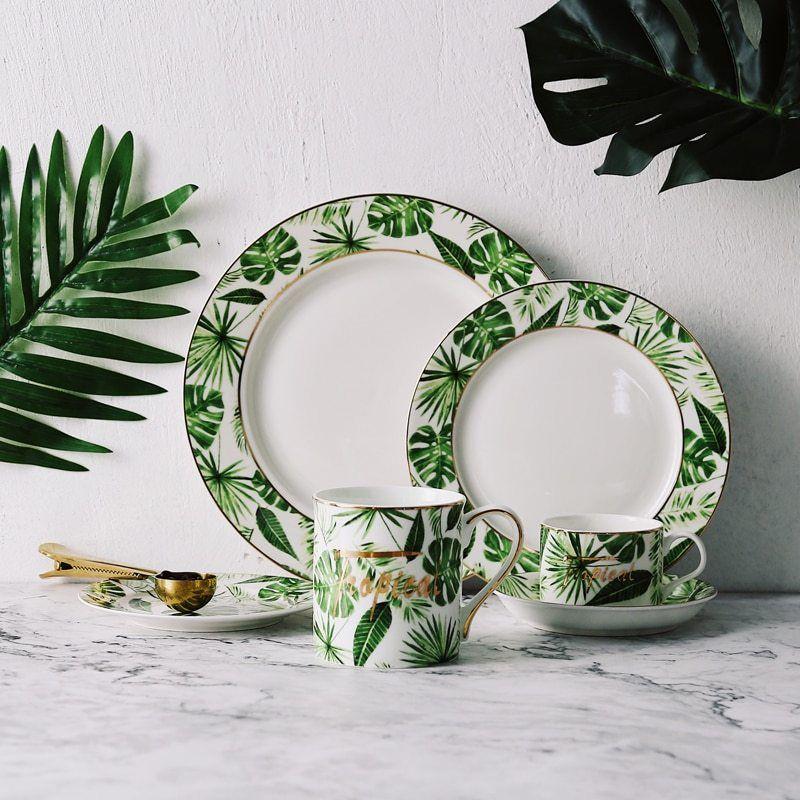 Beauty Gold European Style Green Plants Pattern Ceramic Tableware Porcelain Dinnerware Set Bone Plate Mug Cup And Saucer Posuda Domiki