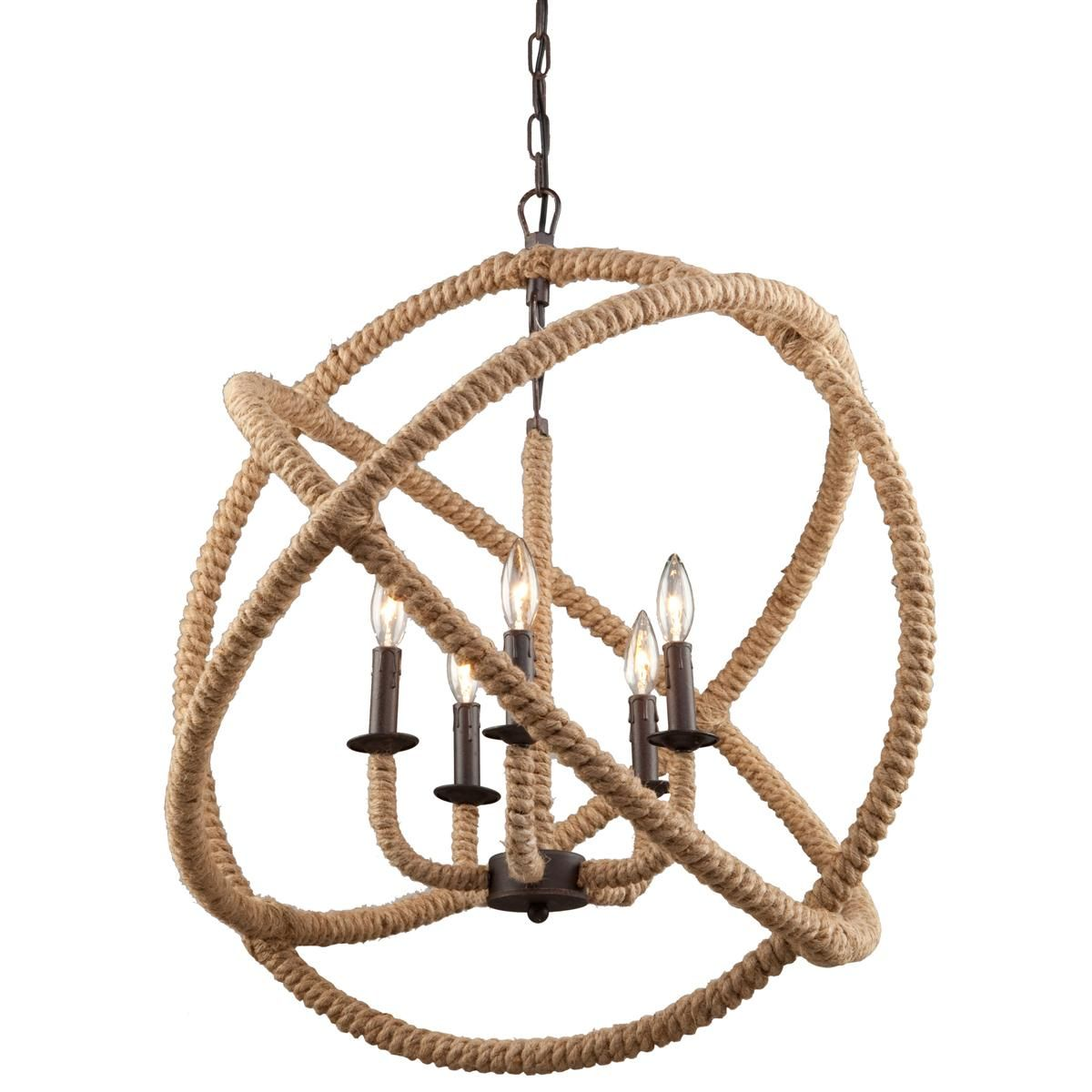 large rope sphere chandelier rope wrapped hoops orbit a 5 light bronze mini chandelier have a - Sphere Chandelier