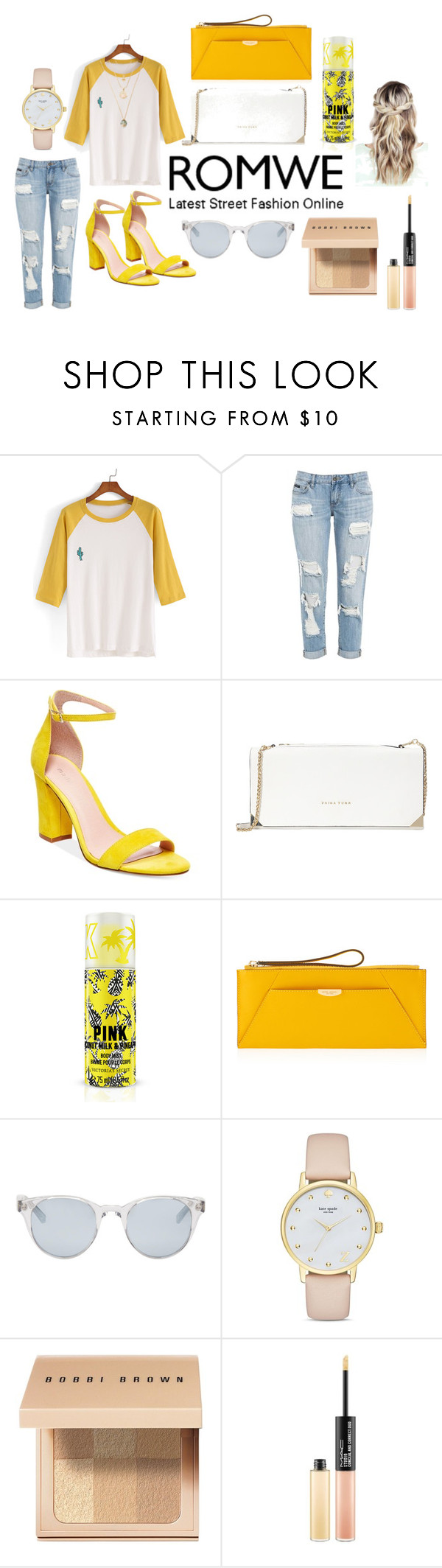 """Untitled #7"" by tashajulia on Polyvore featuring Madden Girl, Trina Turk, Henri Bendel, Sun Buddies, Kate Spade, Bobbi Brown Cosmetics and MAC Cosmetics"