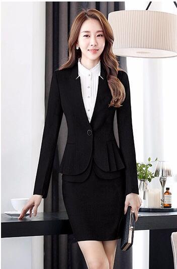 6c8c08e800a Elegant formal women blazers autumn temperament long-sleeve black gray jacket  office ladies plus size work wear coat