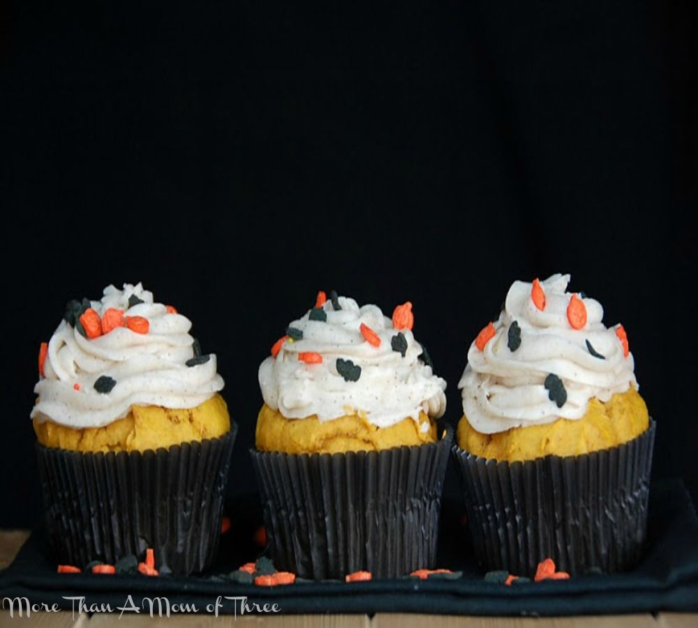 Pumpkin Cupcakes with Cinnamon Frosting -  via More Than a Mom of Three