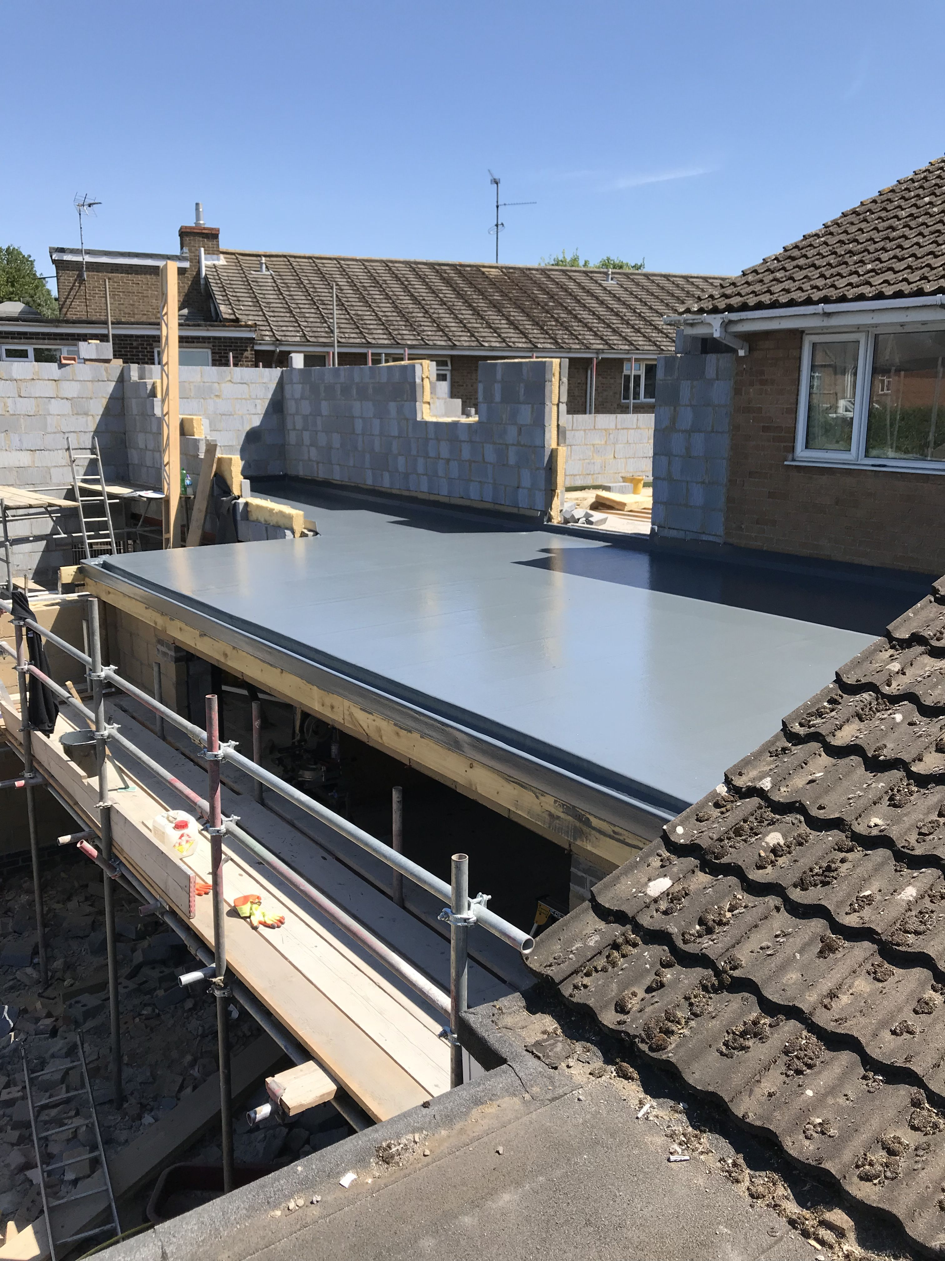 50m2 Grp Fibreglass Roof Terrace Fibreglass Roof Roof Construction House Roof
