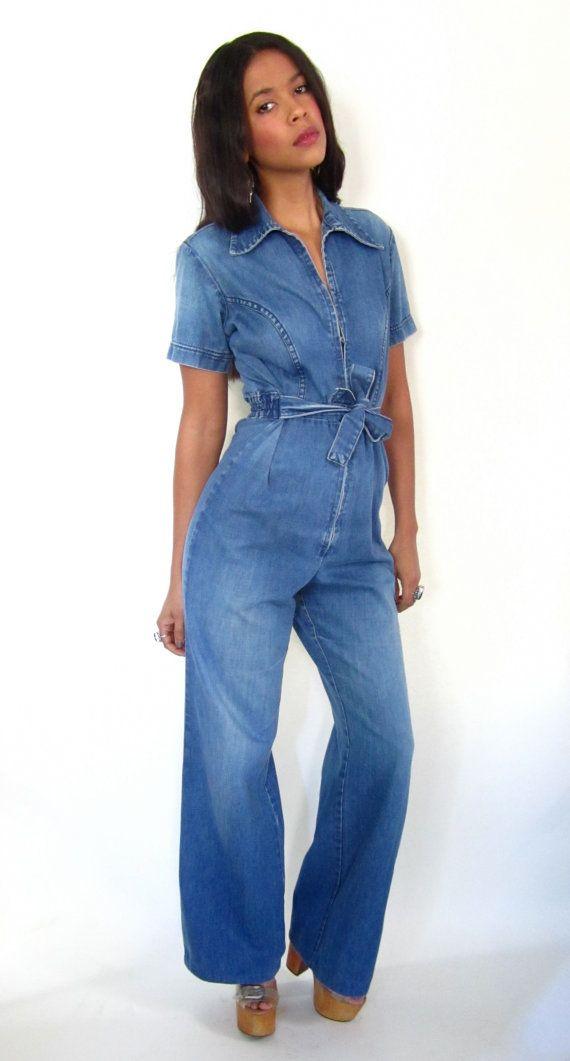 fb1021a31c02 Vintage 70s Wrangler Blue Jean Denim Jumpsuit Overalls High Waist ...