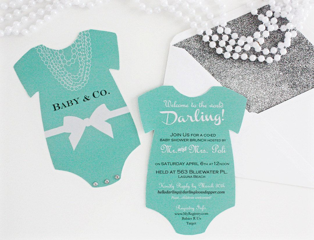 Baby and Co. Bows & Pearls Aqua Baby Shower Invitation (Digital ...
