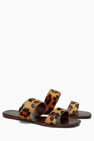 Animal Print Two Band Sandals
