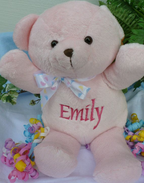Personalized baby gift pink teddy bear birth announcement personalized baby gift pink teddy bear by worldclassembroidery 2300 negle Gallery