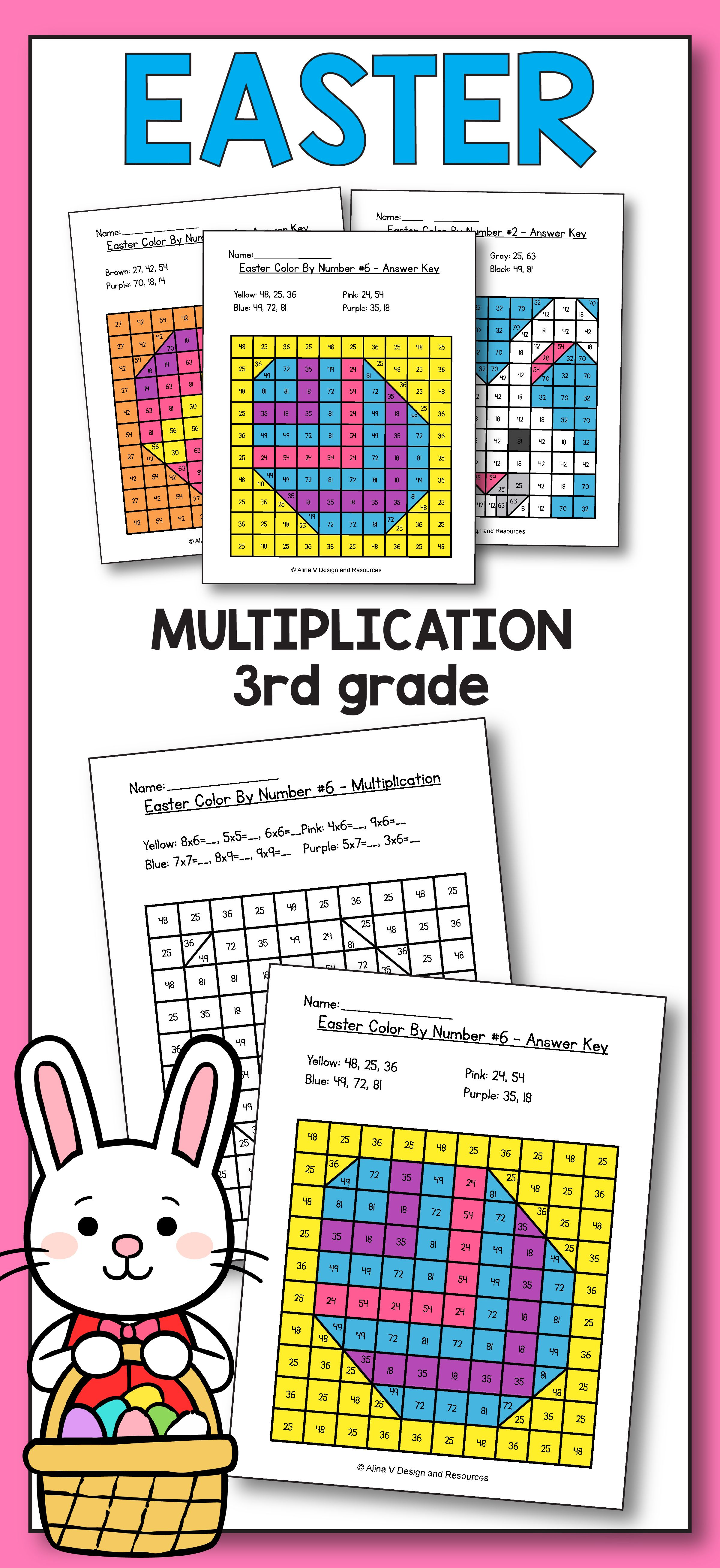 Easter Multiplication Math Worksheets for 3rd grade kids is fun with these  hundreds chart printables…   Easter math [ 5223 x 2400 Pixel ]