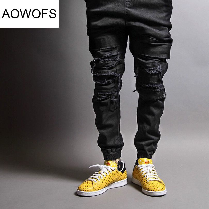 2017 Mens Ripped Jogger Jeans Ankle Length Biker Jean Harajuku slim fit  Broken Knee Rip Pants