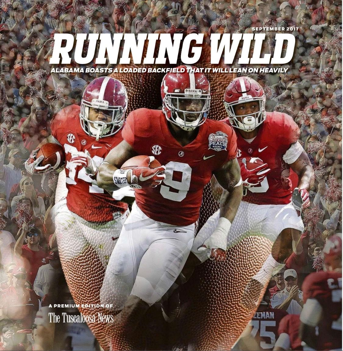 Running Wild Cover Of Tuscaloosa News College Football Preview 2017 Bo Scarbrough Damien Harris Joshua Ja Alabama Football Alabama Crimson Tide Tuscaloosa