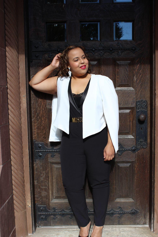 a15b61a33a96 Ivory cape blazer. Black jumpsuit. Moschino belt. Plus size fashion blogger.