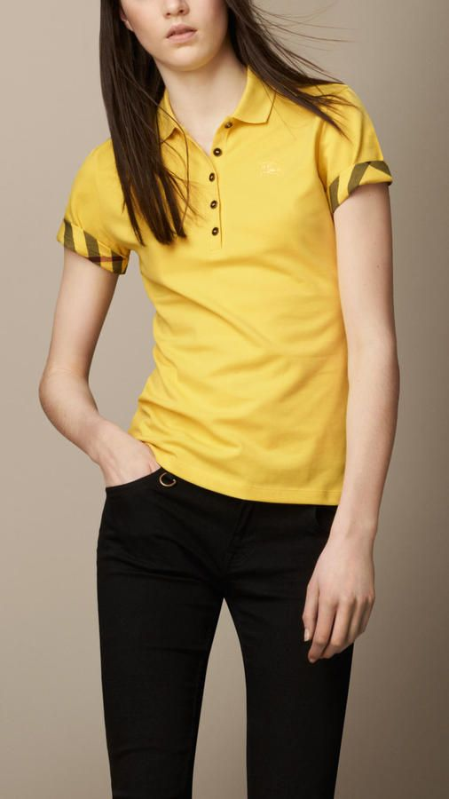 6468e209f Burberry Check Lined Polo Shirt on shopstyle.com   Womens Fashion ...