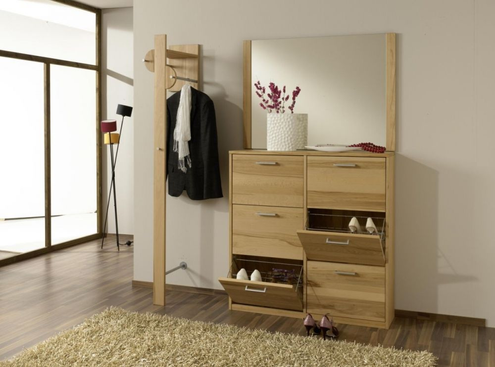 combi garderobe kernbuche mit schuhschrank und spiegel. Black Bedroom Furniture Sets. Home Design Ideas
