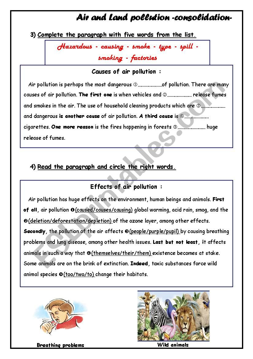 Air And Land Pollution Worksheet Pollution Activities Worksheets Pollution Pollution Activities [ 1169 x 826 Pixel ]