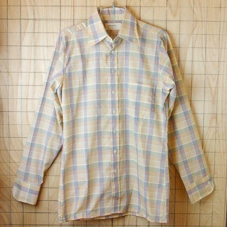 【Arrow】古着レッド×ブルー×イエロー(赤×青×黄)チェックメンズ長袖ボックスシャツ