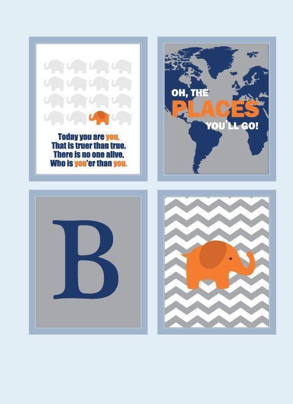Baby Boy Nursery Art Chevron Elephant Prints Decor Playroom Rules Quote